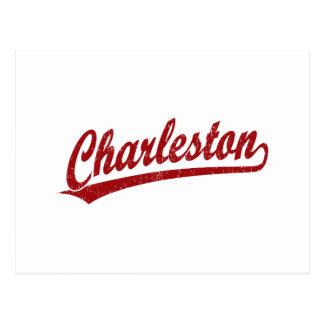 Logotipo de la escritura de Charleston en rojo Postal