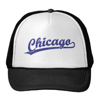 Logotipo de la escritura de Chicago en azul Gorros Bordados