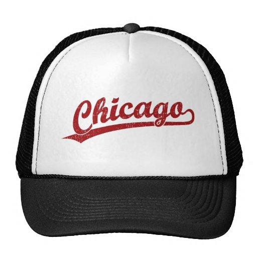 Logotipo de la escritura de Chicago en rojo Gorras