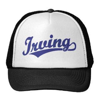 Logotipo de la escritura de Irving en azul Gorros Bordados