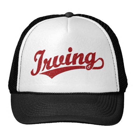 Logotipo de la escritura de Irving en el rojo apen Gorro De Camionero