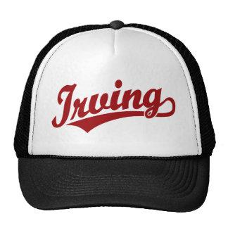Logotipo de la escritura de Irving en rojo Gorros Bordados