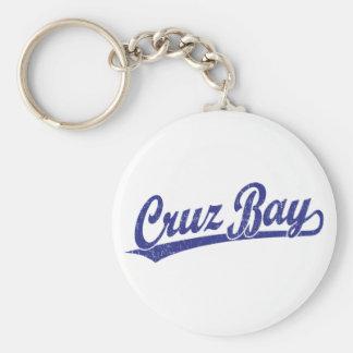 Logotipo de la escritura de la bahía de Cruz en az Llaveros Personalizados