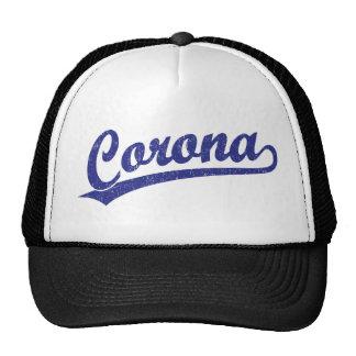 Logotipo de la escritura de la corona en azul gorra
