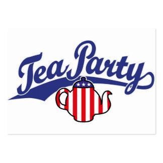 Logotipo de la escritura de la fiesta del té tarjetas personales