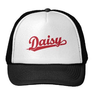 Logotipo de la escritura de la margarita en rojo gorras