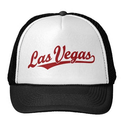 Logotipo de la escritura de Las Vegas en rojo Gorros