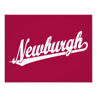Logotipo de la escritura de Newburgh en blanco Invitación 10,8 X 13,9 Cm