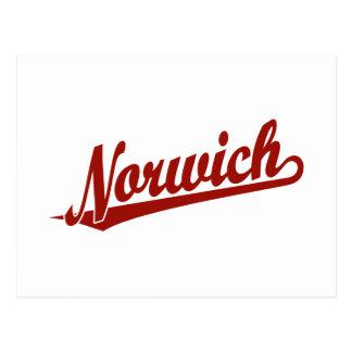 Logotipo de la escritura de Norwich en rojo Postal