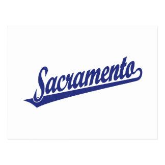 Logotipo de la escritura de Sacramento en azul Postal