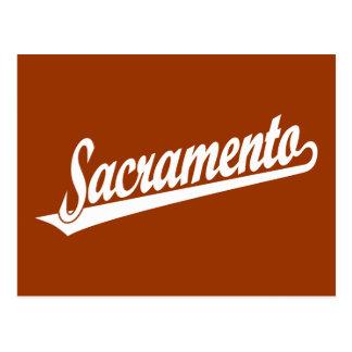 Logotipo de la escritura de Sacramento en blanco Tarjeta Postal