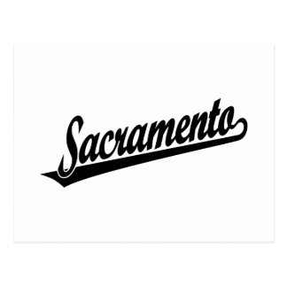 Logotipo de la escritura de Sacramento en negro Tarjeta Postal