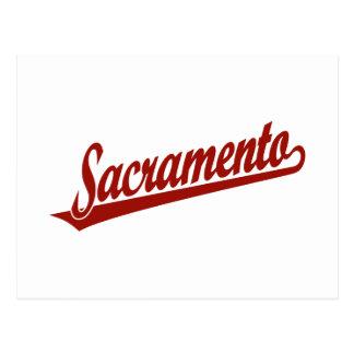 Logotipo de la escritura de Sacramento en rojo Tarjetas Postales