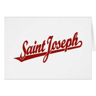 Logotipo de la escritura de San José en rojo Tarjetas