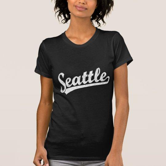 Logotipo de la escritura de Seattle en blanco Camiseta