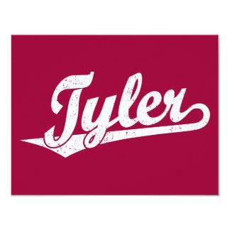 Logotipo de la escritura de Tyler en el blanco Invitación 10,8 X 13,9 Cm