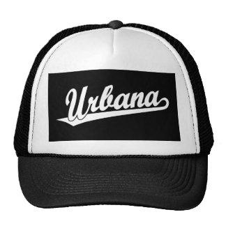 Logotipo de la escritura de Urbana en blanco Gorros Bordados