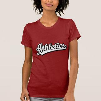 Logotipo de la escritura del atletismo en blanco camisetas