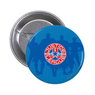 Logotipo de la liga de justicia y fondo sólido del chapa redonda 5 cm