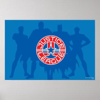 Logotipo de la liga de justicia y fondo sólido del póster