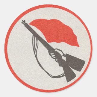 Logotipo de la milicia de los trabajadores pegatina redonda