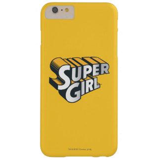 Logotipo de la plata y del naranja de Supergirl Funda Para iPhone 6 Plus Barely There