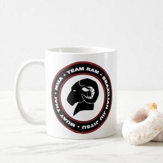 Logotipo de la taza de café de RAM, negro y rojo