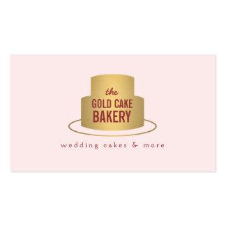Logotipo de la torta del oro en el rosa para la pa tarjetas de visita