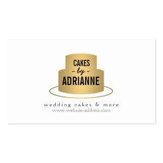 Logotipo de la torta del oro para la panadería, tarjetas de visita