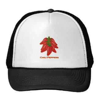Logotipo de las pimientas de chile rojo gorras