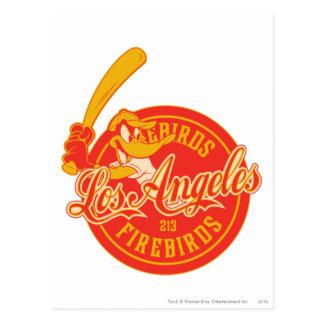 Logotipo de Los Ángeles Firebirds del pato de Tarjeta Postal