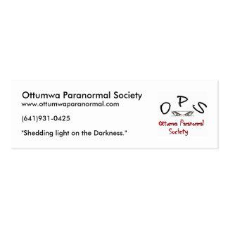 logotipo de los ops, sociedad paranormal de tarjetas de visita mini
