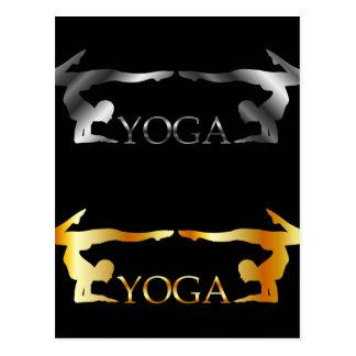 Logotipo de oro y de plata de la yoga o de la postal