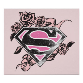 Logotipo de Supergirl con los rosas Póster