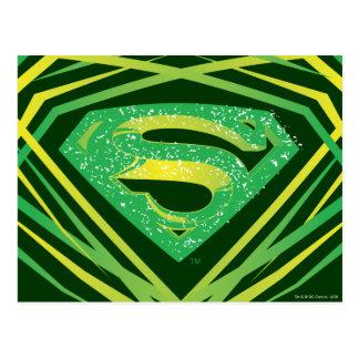 Logotipo decorativo verde del superhombre postal