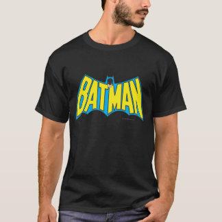Logotipo del azul del amarillo del vintage de camiseta