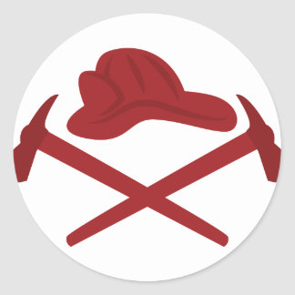 Logotipo del bombero pegatina redonda
