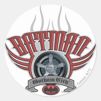 Logotipo del borde del neumático de Batman el | Pegatina Redonda