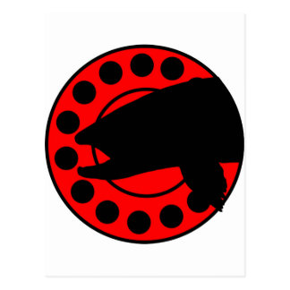 Logotipo del carrete de la pesca con mosca de postal