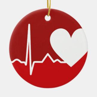 Logotipo del corazón adorno navideño redondo de cerámica