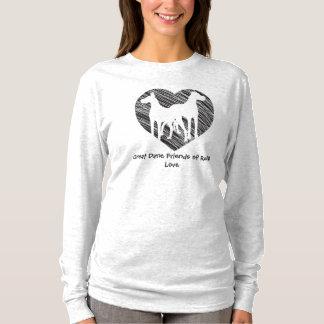 Logotipo del corazón del garabato de los amigos de camiseta