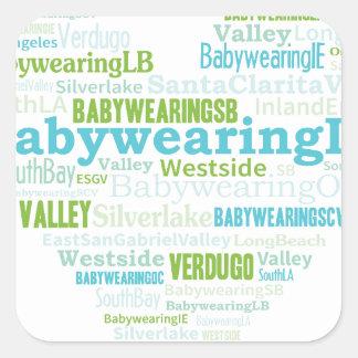 Logotipo del corazón del LA de Babywearing Pegatina Cuadrada