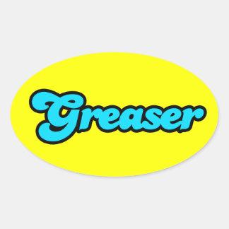 Logotipo del engrasador pegatina ovalada