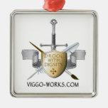 Logotipo del escudo y de la espada ornamentos de navidad