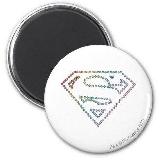 Logotipo del esquema del arco iris de Supergirl Imán Redondo 5 Cm