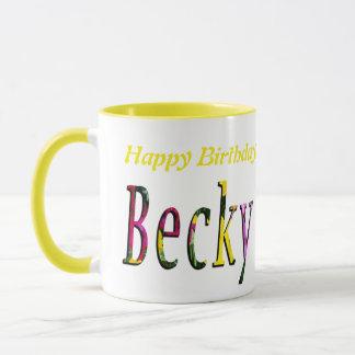 Logotipo del feliz cumpleaños de Becky, taza de