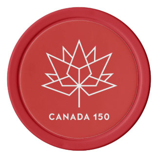 Logotipo del funcionario de Canadá 150 - rojo y Juego De Fichas De Póquer