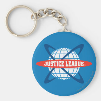Logotipo del globo de la liga de justicia llavero redondo tipo chapa