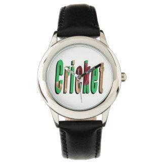 Logotipo del juego del grillo, reloj de cuero