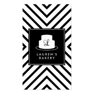 Logotipo del monograma de la torta con la tarjetas de visita